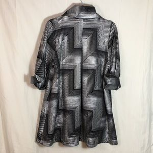 Damee Inc Jackets & Coats - Damee Inc Art to Wear Black and Silver Swing Coat